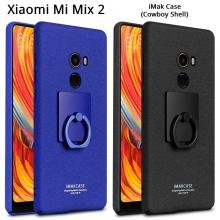 Чехол-накладка iMak (серия Cowboy Shell) + плёнка для смартфона Xiaomi Mi Mix 2, противоударный бампер, шероховатый пластик, поликарбонат, защитная плёнка, съёмное кольцо для пальца, крючок для крепления в автомобиле, чёрный, синий, Киев
