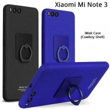 Чехол-накладка iMak (серия Cowboy Shell) + плёнка для смартфона Xiaomi Mi Note 3, противоударный бампер, шероховатый пластик, поликарбонат, защитная плёнка, съёмное кольцо для пальца, крючок для крепления в автомобиле, чёрный, синий, Киев