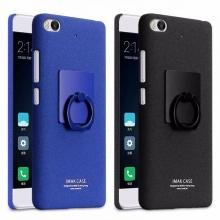 Чехол-накладка iMak (серия Cowboy Shell) + плёнка для смартфона Xiaomi Mi5S, бампер, шероховатый пластик, поликарбонат, защитная плёнка, съёмное кольцо для пальца, крючок для крепления в автомобиле, чёрный, синий, Киев
