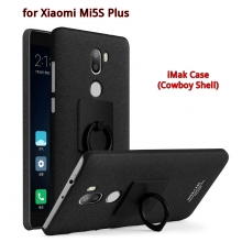 Чехол-накладка iMak (серия Cowboy Shell) + плёнка для смартфона Xiaomi Mi5S Plus, бампер, шероховатый пластик, поликарбонат, защитная плёнка, съёмное кольцо для пальца, крючок для крепления в автомобиле, чёрный, синий, Киев