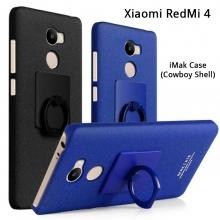 Чехол-накладка iMak (серия Cowboy Shell) + плёнка для смартфона Xiaomi RedMi 4, бампер, шероховатый пластик, поликарбонат, защитная плёнка, съёмное кольцо для пальца, крючок для крепления в автомобиле, чёрный, синий, Киев