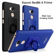 Чехол-накладка iMak (серия Cowboy Shell) + плёнка для смартфона Xiaomi RedMi 4 Prime / Pro, противоударный бампер, шероховатый пластик, поликарбонат, защитная плёнка, съёмное кольцо для пальца, крючок для крепления в автомобиле, чёрный, синий, Киев