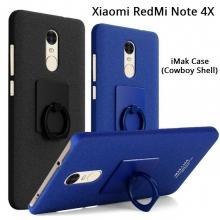 Чехол-накладка iMak (серия Cowboy Shell) + плёнка для смартфона Xiaomi RedMi Note 4X, противоударный бампер, шероховатый пластик, поликарбонат, защитная плёнка, съёмное кольцо для пальца, крючок для крепления в автомобиле, чёрный, синий, Киев