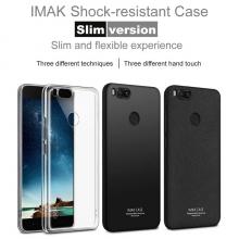 Чехол-накладка iMak (Slim) + плёнка для смартфона Xiaomi Mi5X / Xiaomi Mi A1, прозрачный термополиуретан, чёрный гладкий термополиуретан, чёрный шероховатый термополиуретан, логотип «iMak», накладки на кнопки регулировки громкости и включения / выключения, двойное отверстие для крепления ремешка, защитная плёнка повышенной прочности, Киев