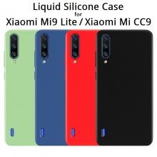 Чехол-накладка Liquid Silicone для смартфона Xiaomi Mi9 Lite / Xiaomi Mi CC9, противоударный бампер, термополиуретан с мягкой подкладкой, эластичность в сочетании с устойчивостью к растяжению, устойчивость к царапинам, накладки на кнопки регулировки громкости и включения / выключения, двойное отверстие для крепления ремешка, чёрный, синий, серый, сиреневый, красный, зелёный, жёлтый, персиковый, Киев