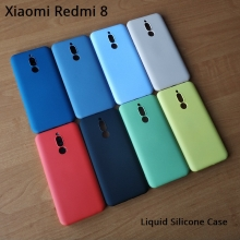 Чехол-накладка Liquid Silicone для смартфона Xiaomi Redmi 8, противоударный бампер, термополиуретан с мягкой подкладкой, эластичность в сочетании с устойчивостью к растяжению, устойчивость к царапинам, накладки на кнопки регулировки громкости и включения / выключения, двойное отверстие для крепления ремешка, чёрный, синий, серый, сиреневый, красный, зелёный, жёлтый, персиковый, Киев