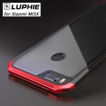 Чехол-накладка Luphie (с задней стеклянной панелью) для смартфона Xiaomi Mi5X / Xiaomi Mi A1, пластик + анодированный алюминий + стекло, стекло 9H, тканевые накладки для защиты корпуса смартфона, чёрный + красный, чёрный + золотой, чёрный + фиолетовый, чёрный + розовый, Киев