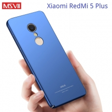 Чехол-накладка MSVII для смартфона Xiaomi RedMi 5 Plus, противоударный тонкий бампер, гладкий пластик, матовый пластик, чёрный, синий, красный, фиолетовый, Киев