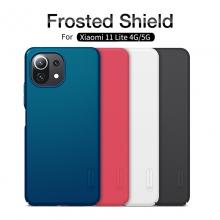 Чехол-накладка Nillkin Super Frosted Shield для смартфона Xiaomi Mi 11 Lite / Xiaomi Mi 11 Lite 5G / Xiaomi Mi 11 Youth Edition, противоударный бампер, рифлёный пластик, накладки на кнопки регулировки громкости, чёрный, белый, золотой, красный, сапфирово-синий (Sapphire Blue), сине-зелёный (Peacock Blue), подставка для просмотра видео, Киев