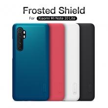 Чехол-накладка Nillkin Super Frosted Shield для смартфона Xiaomi Mi Note 10 Lite, противоударный бампер, рифлёный пластик, чёрный, белый, золотой, красный, сапфирово-синий (Sapphire Blue), сине-зелёный (Peacock Blue), подставка для просмотра видео, Киев