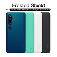 Чехол-накладка Nillkin Super Frosted Shield для смартфона Xiaomi Mi Note 10 / Xiaomi Mi CC9 Pro, противоударный бампер, рифлёный пластик, чёрный, белый, золотой, красный, сапфирово-синий (Sapphire Blue), сине-зелёный (Peacock Blue), подставка для просмотра видео, Киев