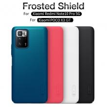 Чехол-накладка Nillkin Super Frosted Shield для смартфона Xiaomi Poco X3 GT / Xiaomi Redmi Note 10 Pro 5G (China), противоударный бампер, рифлёный пластик, накладки на кнопки регулировки громкости, чёрный, белый, золотой, красный, сапфирово-синий (Sapphire Blue), сине-зелёный (Peacock Blue), подставка для просмотра видео, Киев