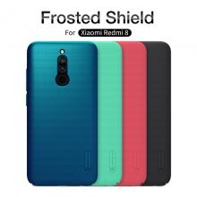 Чехол-накладка Nillkin Frosted Shield для смартфона Xiaomi Redmi 8, противоударный бампер, рифлёный пластик, чёрный, белый, золотой, красный, сине-зелёный (Peacock Blue), мятный (Mint Green), подставка для просмотра видео, Киев