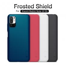 Чехол-накладка Nillkin Super Frosted Shield для смартфона Xiaomi Redmi Note 10 5G, противоударный бампер, рифлёный пластик, накладки на кнопки регулировки громкости, чёрный, белый, золотой, красный, сапфирово-синий (Sapphire Blue), сине-зелёный (Peacock Blue), подставка для просмотра видео, Киев