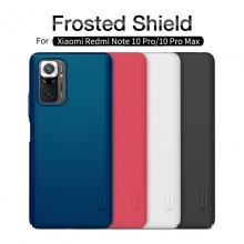 Чехол-накладка Nillkin Super Frosted Shield для смартфона Xiaomi Redmi Note 10 Pro / Xiaomi Redmi Note 10 Pro Max, противоударный бампер, рифлёный пластик, накладки на кнопки регулировки громкости, чёрный, белый, золотой, красный, сапфирово-синий (Sapphire Blue), сине-зелёный (Peacock Blue), подставка для просмотра видео, Киев