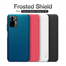 Чехол-накладка Nillkin Super Frosted Shield для смартфона Xiaomi Redmi Note 10 / Xiaomi Redmi Note 10S, противоударный бампер, рифлёный пластик, накладки на кнопки регулировки громкости, чёрный, белый, золотой, красный, сапфирово-синий (Sapphire Blue), сине-зелёный (Peacock Blue), подставка для просмотра видео, Киев
