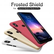 Чехол-накладка Nillkin Frosted Shield для смартфона Xiaomi RedMi Note 6 Pro, противоударный бампер, рифлёный пластик, чёрный, белый, золотой, красный, подставка для просмотра видео, Киев