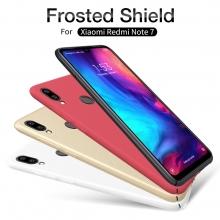 Чехол-накладка Nillkin Frosted Shield для смартфона Xiaomi Redmi Note 7 / Redmi Note 7 Pro, противоударный бампер, рифлёный пластик, чёрный, белый, золотой, красный, подставка для просмотра видео, Киев