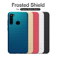 Чехол-накладка Nillkin Super Frosted Shield для смартфона Xiaomi Redmi Note 8, противоударный бампер, рифлёный пластик, чёрный, белый, золотой, красный, сапфирово-синий (Sapphire Blue), сине-зелёный (Peacock Blue), подставка для просмотра видео, Киев