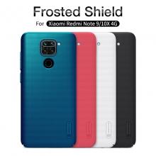 Чехол-накладка Nillkin Super Frosted Shield для смартфона Xiaomi Redmi Note 9 / Xiaomi Redmi 10X 4G, противоударный бампер, рифлёный пластик, чёрный, белый, золотой, красный, сапфирово-синий (Sapphire Blue), сине-зелёный (Peacock Blue), мятный (Mint Green), подставка для просмотра видео, Киев