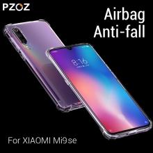 Чехол-накладка PZOZ (Airbag Version) для смартфона Xiaomi Mi9 SE, термополиуретан, дополнительная защита углов смартфона «воздушными подушками», накладки на кнопки регулировки громкости и включения / выключения, двойное отверстие для крепления ремешка, прозрачный, прозрачный с чёрным оттенком, прозрачный с красным оттенком, Киев