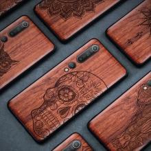 Чехол-накладка с деревянной задней панелью для Xiaomi Mi10, поликарбонат с накладкой из дерева, рама из термополиуретана, резьба на деревянной панели, накладки на кнопки регулировки громкости и включения / выключения, коричневый, Киев