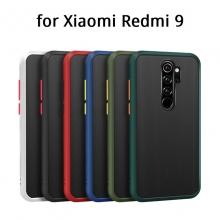 Чехол-накладка с контрастными кнопками для Xiaomi Redmi 9, противоударный бампер, задняя панель из полупрозрачного поликарбоната + рама из термополиуретана, накладка на кнопки регулировки громкости, двойное отверстие для крепления ремешка, чёрный, серый, синий, тёмно-зелёный, светло-зелёный, розовый, Киев