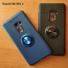 Чехол-накладка с магнитным кольцом для смартфона Xiaomi Mi Mix 2, термополиуретан (TPU), накладки на кнопки регулировки громкости и включения / выключения, несъёмное кольцо для пальца, которое также можно использовать как подставку при просмотре видео, угол поворота кольца 360 градусов, угол наклона кольца 150 градусов, металлический сердечник крепится к автомобильным магнитным держателям, чёрный, синий, красный, розовый, Киев