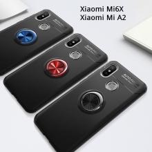 Чехол-накладка с магнитным кольцом для смартфона Xiaomi Mi6X / Xiaomi Mi A2, термополиуретан (TPU), накладки на кнопки регулировки громкости и включения / выключения, несъёмное кольцо для пальца, которое также можно использовать как подставку при просмотре видео, угол поворота кольца 360 градусов, угол наклона кольца 150 градусов, металлический сердечник крепится к автомобильным магнитным держателям, чёрный, синий, красный, розовый, Киев