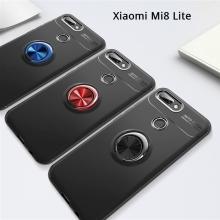 Чехол-накладка с магнитным кольцом для смартфона Xiaomi Mi8 Lite, противоударный чехол, термополиуретан (TPU), накладки на кнопки регулировки громкости и включения / выключения, несъёмное кольцо для пальца, которое также можно использовать как подставку при просмотре видео, угол поворота кольца 360 градусов, угол наклона кольца 150 градусов, металлический сердечник крепится к автомобильным магнитным держателям, чёрный, синий, красный, розовый, Киев