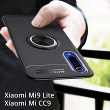 Чехол-накладка с магнитным кольцом для смартфона Xiaomi Mi9 Lite / Xiaomi Mi CC9, противоударный бампер, термополиуретан (TPU), накладки на кнопки регулировки громкости и включения / выключения, несъёмное кольцо для пальца, которое также можно использовать как подставку при просмотре видео, угол поворота кольца 360 градусов, угол наклона кольца 150 градусов, металлический сердечник крепится к автомобильным магнитным держателям, чёрный, синий, красный, розовый, Киев
