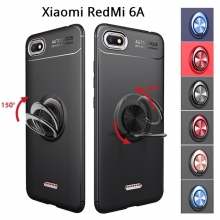 Чехол-накладка с магнитным кольцом для смартфона Xiaomi Redmi 6A, противоударный чехол, термополиуретан (TPU), накладки на кнопки регулировки громкости и включения / выключения, несъёмное кольцо для пальца, которое также можно использовать как подставку при просмотре видео, угол поворота кольца 360 градусов, угол наклона кольца 150 градусов, металлический сердечник крепится к автомобильным магнитным держателям, чёрный, синий, красный, розовый, Киев