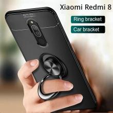 Чехол-накладка с магнитным кольцом для смартфона Xiaomi Redmi 8, противоударный бампер, термополиуретан (TPU), накладки на кнопки регулировки громкости и включения / выключения, несъёмное кольцо для пальца, которое также можно использовать как подставку при просмотре видео, угол поворота кольца 360 градусов, угол наклона кольца 150 градусов, металлический сердечник крепится к автомобильным магнитным держателям, чёрный, синий, красный, розовый, Киев