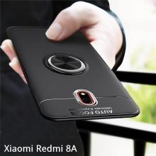 Чехол-накладка с магнитным кольцом для смартфона Xiaomi Redmi 8A, противоударный бампер, термополиуретан (TPU), накладки на кнопки регулировки громкости и включения / выключения, несъёмное кольцо для пальца, которое также можно использовать как подставку при просмотре видео, угол поворота кольца 360 градусов, угол наклона кольца 150 градусов, металлический сердечник крепится к автомобильным магнитным держателям, чёрный, синий, красный, розовый, Киев