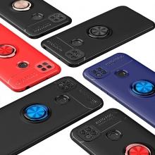 Чехол-накладка с магнитным кольцом для смартфона Xiaomi Redmi 9C, противоударный бампер, термополиуретан (TPU), накладки на кнопки регулировки громкости и включения / выключения, несъёмное кольцо для пальца, которое также можно использовать как подставку при просмотре видео, угол поворота кольца 360 градусов, угол наклона кольца 150 градусов, металлический сердечник крепится к автомобильным магнитным держателям, чёрный, синий, красный, розовый, Киев