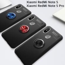Чехол-накладка с магнитным кольцом для смартфона Xiaomi RedMi Note 5 / RedMi Note 5 Pro, термополиуретан (TPU), накладки на кнопки регулировки громкости и включения / выключения, несъёмное кольцо для пальца, которое также можно использовать как подставку при просмотре видео, угол поворота кольца 360 градусов, угол наклона кольца 150 градусов, металлический сердечник крепится к автомобильным магнитным держателям, чёрный, синий, красный, розовый, Киев
