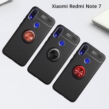 Чехол-накладка с магнитным кольцом для смартфона Xiaomi Redmi Note 7, противоударный чехол, термополиуретан (TPU), накладки на кнопки регулировки громкости и включения / выключения, несъёмное кольцо для пальца, которое также можно использовать как подставку при просмотре видео, угол поворота кольца 360 градусов, угол наклона кольца 150 градусов, металлический сердечник крепится к автомобильным магнитным держателям, чёрный, синий, красный, розовый, Киев