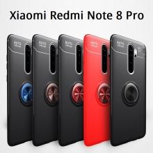 Чехол-накладка с магнитным кольцом для смартфона Xiaomi Redmi Note 8 Pro, противоударный чехол, термополиуретан (TPU), накладки на кнопки регулировки громкости и включения / выключения, несъёмное кольцо для пальца, которое также можно использовать как подставку при просмотре видео, угол поворота кольца 360 градусов, угол наклона кольца 150 градусов, металлический сердечник крепится к автомобильным магнитным держателям, чёрный, синий, красный, розовый, Киев