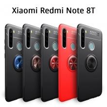 Чехол-накладка с магнитным кольцом для смартфона Xiaomi Redmi Note 8T, противоударный чехол, термополиуретан (TPU), накладки на кнопки регулировки громкости и включения / выключения, несъёмное кольцо для пальца, которое также можно использовать как подставку при просмотре видео, угол поворота кольца 360 градусов, угол наклона кольца 150 градусов, металлический сердечник крепится к автомобильным магнитным держателям, чёрный, синий, красный, розовый, Киев