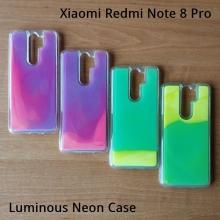 Чехол-накладка с неоновым песком для смартфона Xiaomi Redmi Note 8 Pro, Neon Sand, противоударный бампер, поликарбонат + термополиуретан, подвижный «неоновый песок» двух цветов, песок светится в темноте после пребывания на солнце, накладки на кнопки регулировки громкости и включения / выключения, двойное отверстие для крепления ремешка, фиолетовый + розовый, зелёный + жёлтый, Киев
