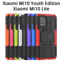 Чехол-накладка с подставкой для смартфона Xiaomi Mi10 Youth Edition 5G / Xiaomi Mi10 Lite 5G, бронированный противоударный бампер, поликарбонат + термополиуретан, сочетание жёсткости с гибкостью, в чехол встроена подставка для просмотра видео, чёрный + чёрный, чёрный + красный, чёрный + оранжевый, чёрный +розовый, чёрный + синий, чёрный + фиолетовый, чёрный + зелёный, чёрный + белый, Киев