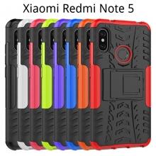 Чехол-накладка с подставкой для смартфона Xiaomi Redmi Note 5 / RedMi Note 5 Pro, бронированный бампер, поликарбонат + термополиуретан, сочетание жёсткости с гибкостью, в чехол встроена подставка для просмотра видео, чёрный + чёрный, чёрный + красный, чёрный + оранжевый, чёрный +розовый, чёрный + синий, чёрный + фиолетовый, чёрный + зелёный, чёрный + белый, Киев