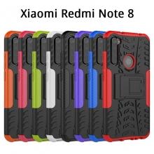 Чехол-накладка с подставкой для смартфона Xiaomi Redmi Note 8, бронированный бампер, поликарбонат + термополиуретан, сочетание жёсткости с гибкостью, в чехол встроена подставка для просмотра видео, чёрный + чёрный, чёрный + красный, чёрный + оранжевый, чёрный +розовый, чёрный + синий, чёрный + фиолетовый, чёрный + зелёный, чёрный + белый, Киев