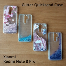 Чехол-накладка с подвижными блёстками Glitter Quicksand для смартфона Xiaomi Redmi Note 8 Pro, Neon Sand, противоударный бампер, поликарбонат + термополиуретан, подвижные блёстки, накладки на кнопки регулировки громкости и включения / выключения, двойное отверстие для крепления ремешка, единорог, unicorn, Киев