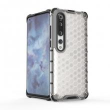 Чехол-накладка с рисунком в виде сот для смартфона Xiaomi Mi10 / Xiaomi Mi10 Pro, задняя панель из поликарбоната, рама из термополиуретана, сочетание жёсткости с гибкостью, дополнительная защита углов смартфона «воздушными подушками», накладка на кнопки регулировки громкости и включения / выключения, чёрный + прозрачный, чёрный + серый, чёрный + красный, чёрный + синий, чёрный + зелёный, Киев