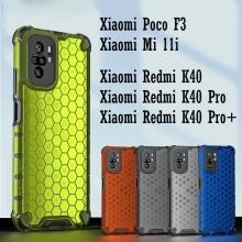 Чехол-накладка с рисунком в виде сот для смартфона Xiaomi Poco F3 / Xiaomi Redmi K40 / Xiaomi Redmi  Pro / Xiaomi Mi 11i, противоударный бампер, задняя панель из поликарбоната, рама из термополиуретана, сочетание жёсткости с гибкостью, дополнительная защита углов смартфона «воздушными подушками», накладка на кнопки регулировки громкости, чёрный + прозрачный, чёрный + серый, чёрный + красный, чёрный + синий, чёрный + зелёный, Киев