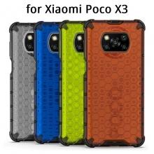 Чехол-накладка с рисунком в виде сот для смартфона Xiaomi Poco X3, противоударный бампер, задняя панель из поликарбоната, рама из термополиуретана, сочетание жёсткости с гибкостью, дополнительная защита углов смартфона «воздушными подушками», накладка на кнопки регулировки громкости, чёрный + прозрачный, чёрный + серый, чёрный + красный, чёрный + синий, чёрный + зелёный, Киев