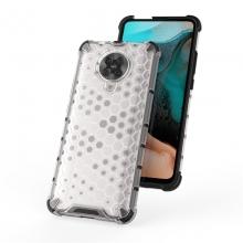 Чехол-накладка с рисунком в виде сот для смартфона Xiaomi Redmi K30 Pro / Xiaomi Poco F2 Pro, задняя панель из поликарбоната, рама из термополиуретана, сочетание жёсткости с гибкостью, дополнительная защита углов смартфона «воздушными подушками», накладка на кнопки регулировки громкости, чёрный + прозрачный, чёрный + серый, чёрный + красный, чёрный + синий, чёрный + зелёный, Киев