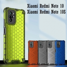 Чехол-накладка с рисунком в виде сот для смартфона Xiaomi Redmi Note 10 / Xiaomi Redmi Note 10S, противоударный бампер, задняя панель из поликарбоната, рама из термополиуретана, сочетание жёсткости с гибкостью, дополнительная защита углов смартфона «воздушными подушками», накладка на кнопки регулировки громкости, чёрный + прозрачный, чёрный + серый, чёрный + красный, чёрный + синий, чёрный + зелёный, Киев