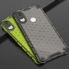 Чехол-накладка с рисунком в виде сот для смартфона Xiaomi Redmi Note 7 / Redmi Note 7 Pro, задняя панель из поликарбоната, рама из термополиуретана, сочетание жёсткости с гибкостью, дополнительная защита углов смартфона «воздушными подушками», накладка на кнопки регулировки громкости и включения / выключения, чёрный + прозрачный, чёрный + серый, чёрный + красный, чёрный + синий, чёрный + зелёный, Киев
